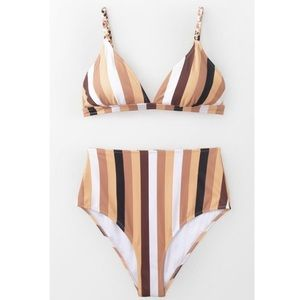 NWT Cupshe Bikini Set With Stripes